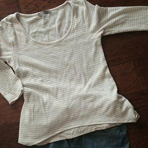 Waffle Knit Self Layer Striped Shirt
